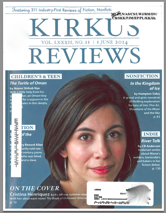 River Talk on the cover of June 1, 2014 Kirkus. Also named one of its ten indie summer reading picks!